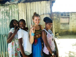 Carly takes a break with co-workers during her internship at Family Health Options-Kenya. (Photo courtesy of Burson)