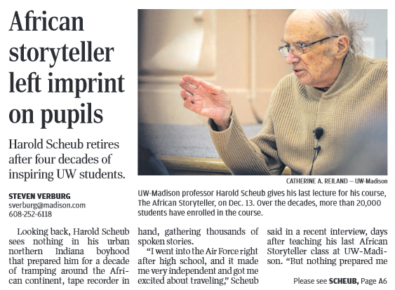 Image of Scheub article in Wisconsin State Journal