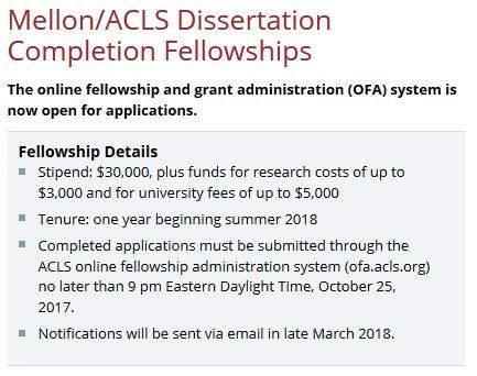Acls mellon dissertation fellowship